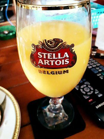 Stella Artois Orange Juice  Breakfast Morning Text Drink Indoors  Close-up No People Drinking Glass Freshness Day
