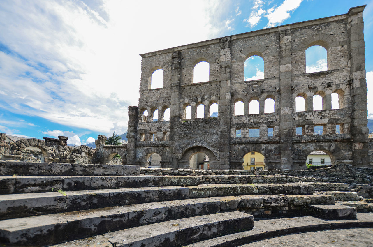 Aosta Architecture Building Exterior Built Structure History Italia Italy Low Angle View Old Ruin Outdoors Roman Theater Sky Teatro Romano The Past