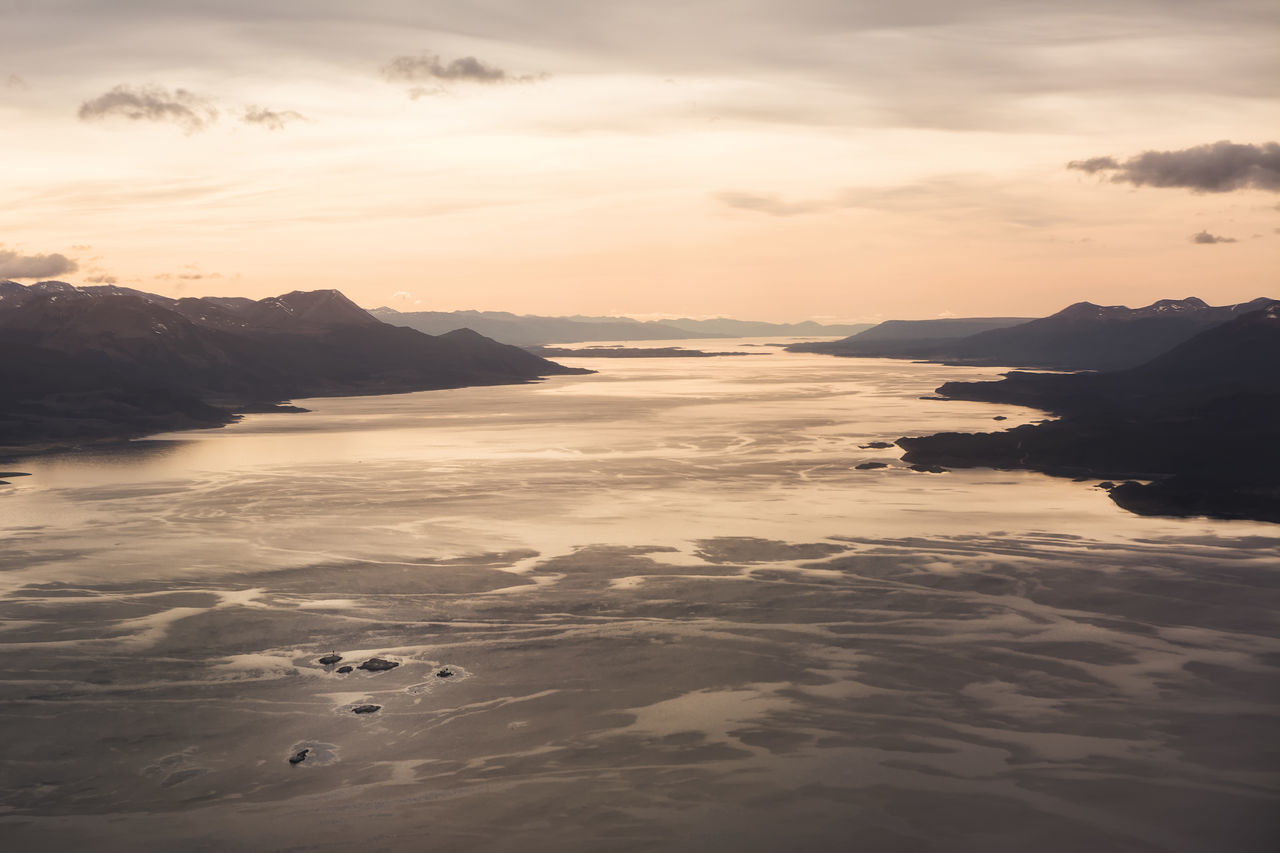 Sunrise on Beagle channel Aerial America Andes Argentina Beagle Canal De Beagle Channel Chile Destination Land Of Fire Landscape Les Eclaireurs Lighthouse Lighthouse Mountain Ocean Panoramic Patagonia Sea Southernmost Sunrise Sunset Tierra Del Fuego Travel Ushuaïa Water