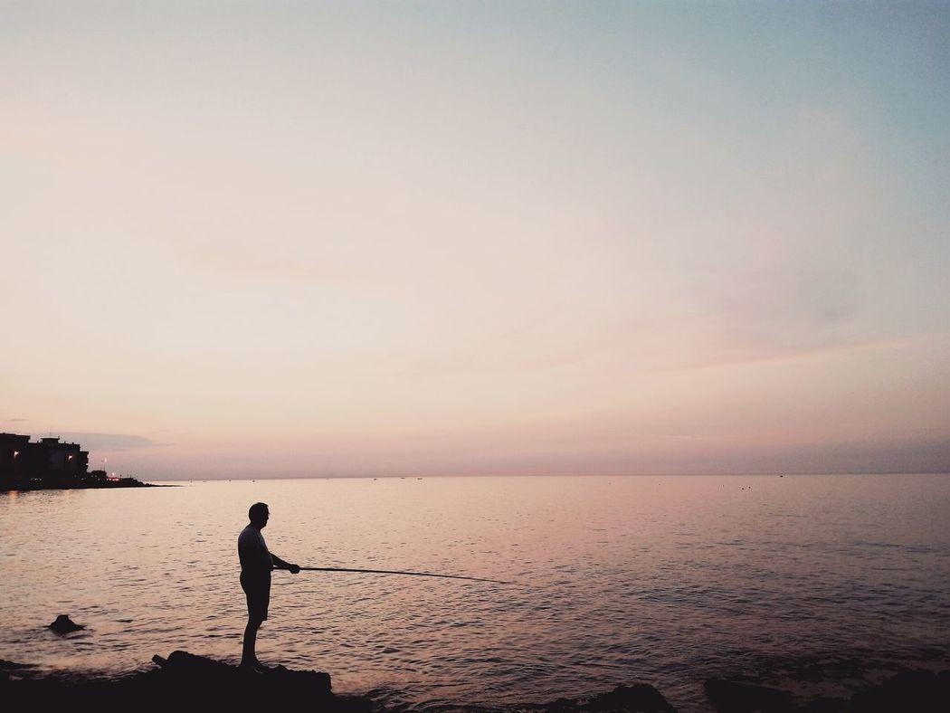 Sea Mare Fisherman Sunset Tramonto Pink Rosa Pescatore Ombre Sagoma