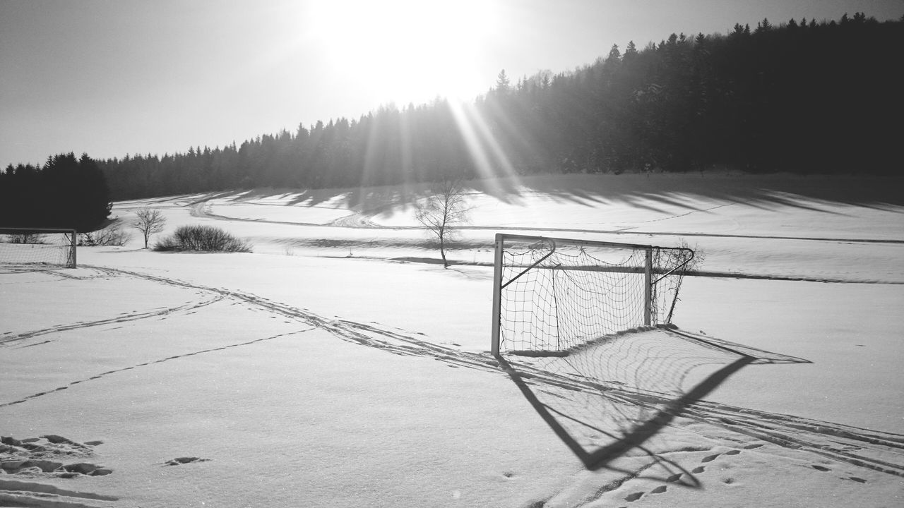 Closed // Cold Temperature Snow Winter Outdoors Sunlight No People Landscape Nature Day Nature Weather Snow Covered ForTheLoveOfPhotography Quiet Moments Fortheloversofblackandwhite Black&white Bnw Football Goal Sports Saison Closed Field Winter Sports Light And Shadow