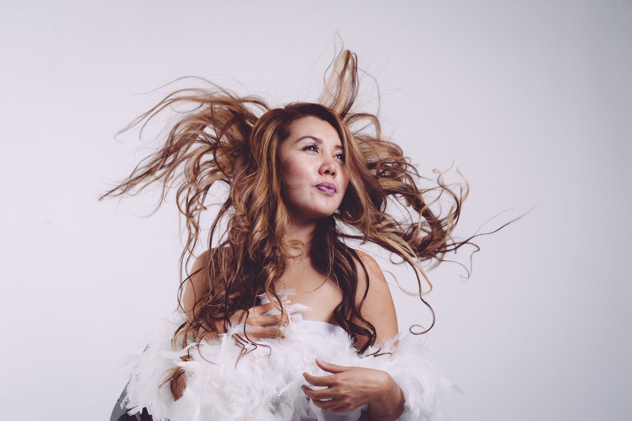 Beautiful stock photos of schwarz, white background, portrait, studio shot, long hair
