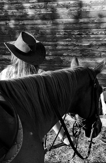 One Animal Enjoying Life Cellphone Photography Taking Photos Nature Day Countryfair Real People Domestic Animals Blackandwhite Outdoors Horses Carousel Horse Horse Country Life People Country Cowgirl