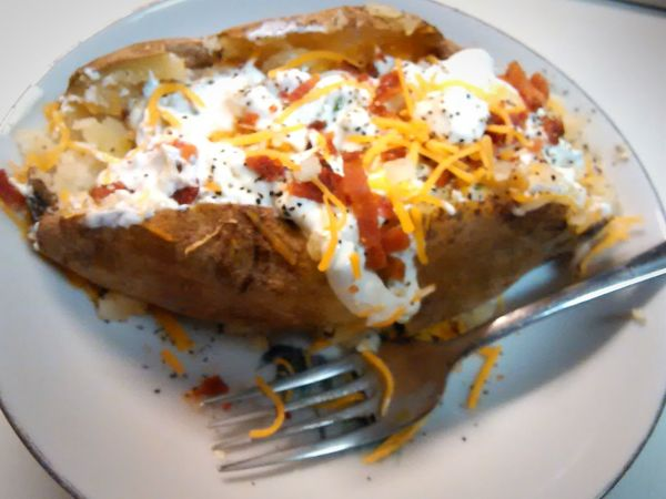 Food Baked Potato Fullyloaded time to eat Sour Cream Bacon! Food Porn love to eat