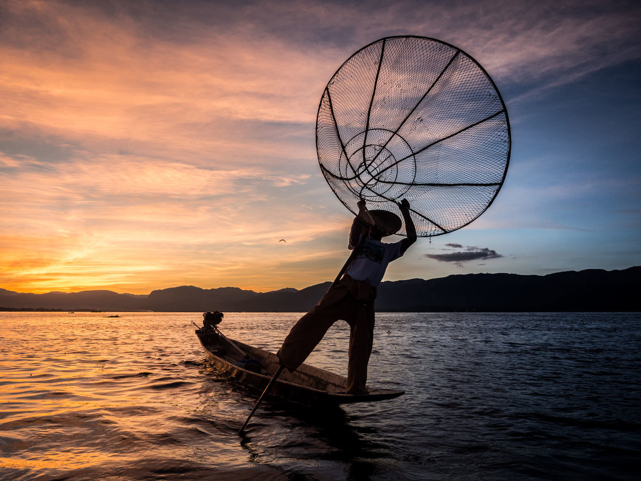 Adult Adults Only Beauty In Nature Fishing Net Lake Nature One Man Only Only Men Outdoors People Sky Sport Sunset Water