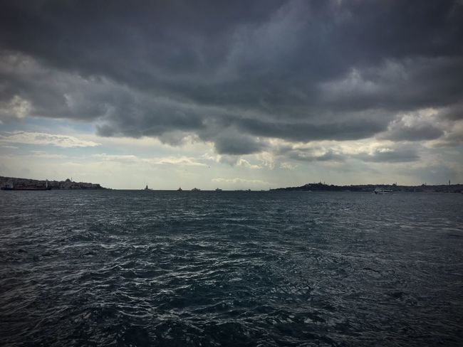 Beşiktaş sahil Water Sea Tranquil Scene Tranquility Rippled Waterfront Sky Cloud Cloudy Mosque Historical Peninsula Maidentower Bosphorus Bosphorus, Istanbul Istanbul IPhoneography No People Sky And City Turkey