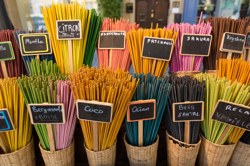 Colors. I like them all, the colors. Aix-en-Provence Arrangement Arômes Collection Colored Sticks Focus On Foreground For Sale France Freshness Group Of Objects In A Row Large Group Of Objects Multi Colored Parfume Retail  Smellsgood Sticks Text Variation Western Script