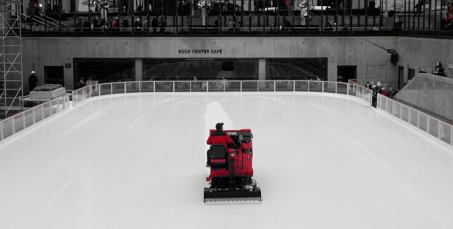 Black and White and red all over. Skating Rink Ice Rink Sport Outdoors City Zamboni Red Black And White Occupation Rockefeller Center, New York Photography