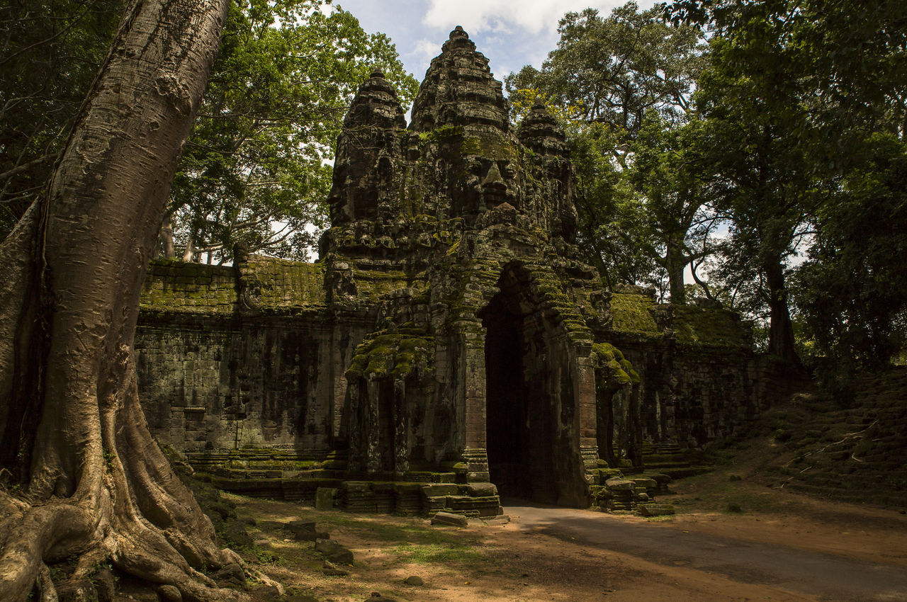 Travel Old Tourism Architecture Temple Building ASIA Stone Cambodia Angkor Ancient Siem Reap Angkor Wat Khmer Angkor Thom Lost Civilization Stone Gate Face In Stone Forgotten Ruins Roots
