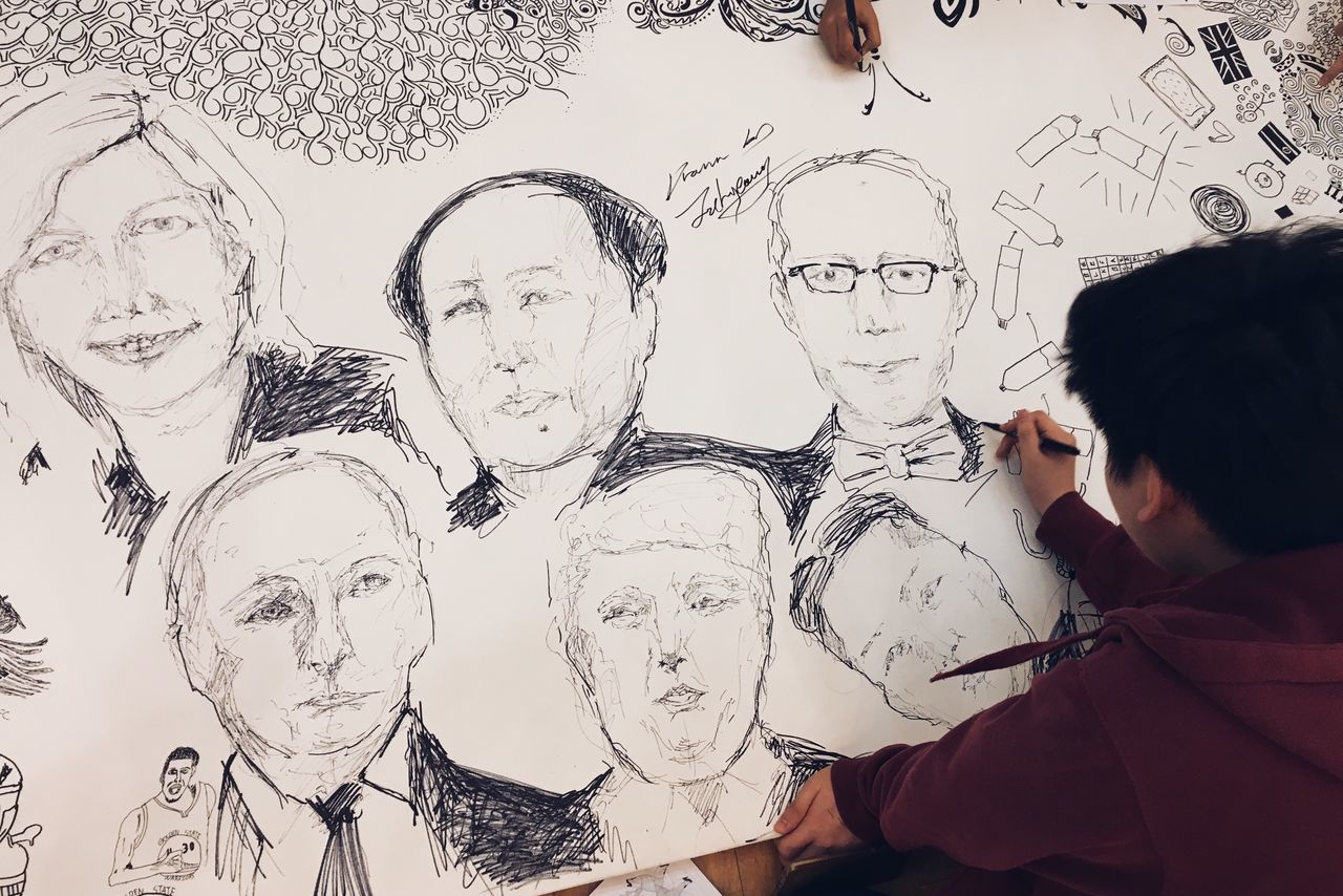 Artistic Vibes - Leaders of the free world. Creativity Paper Women Lifestyles Men Friendship Korean Canvas Sketch Leaders Trump Putin Mao Kim Jong Un Real People Drawing - Activity Artist Indoors  Day People Sky Adult