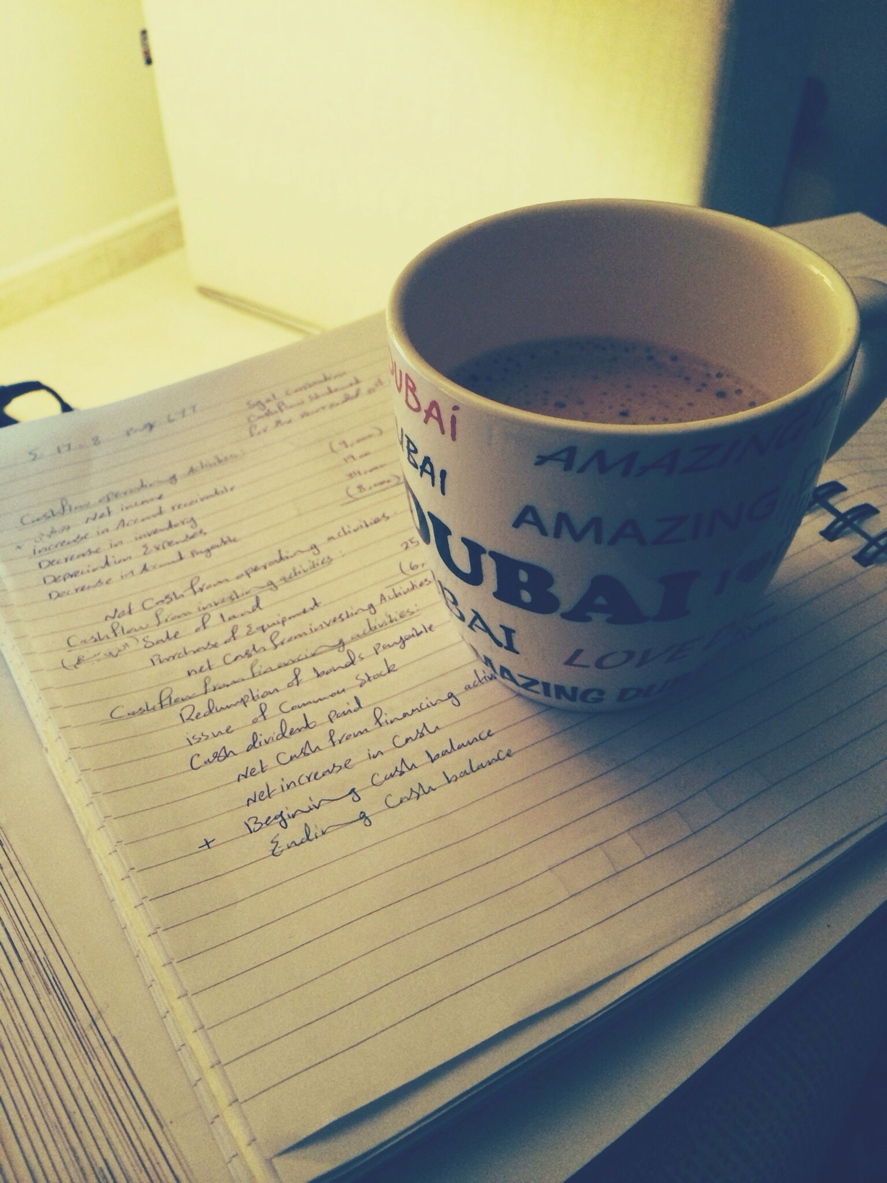 text, indoors, western script, table, communication, coffee cup, drink, close-up, still life, coffee - drink, refreshment, food and drink, book, paper, no people, wood - material, coffee, non-western script, freshness, high angle view