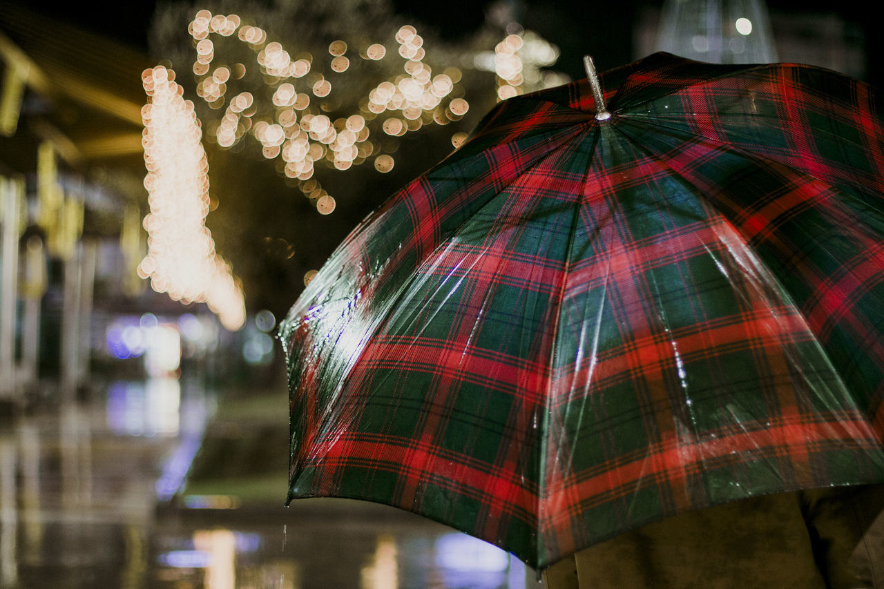 Umbrella Celebration Christmas Christmas Decoration Christmas Lights Christmas Ornament Close-up Focus On Foreground Illuminated Low Angle View Night No People Outdoors Vacations