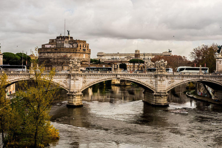 Panorama Tevere River Arch Arch Bridge Architecture Bridge - Man Made Structure Castello City Cloud - Sky Outdoors Ponte Sant'angelo Tevere Water