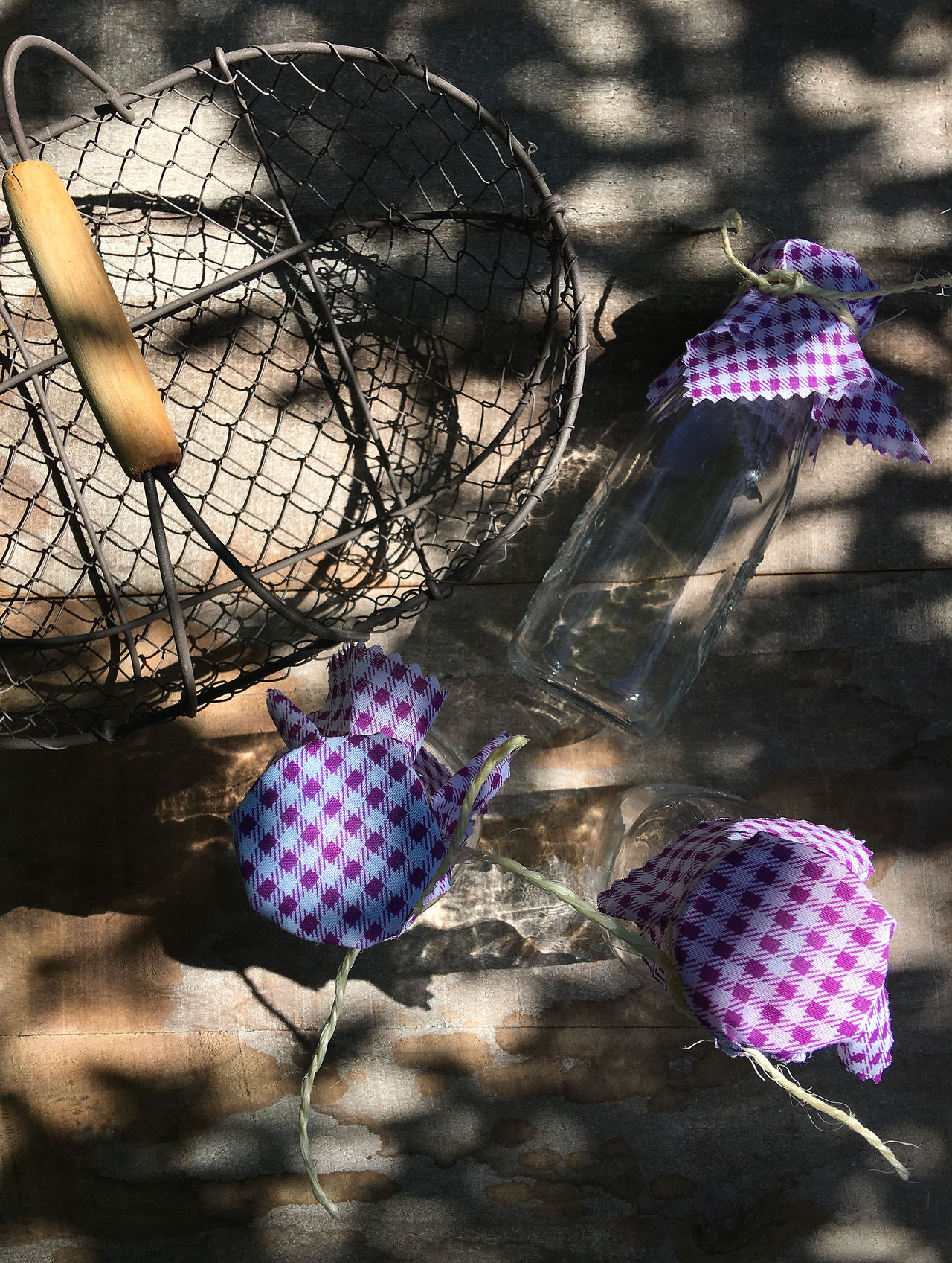 Three Bottles And Basket Basket Bottle Checked Pattern Close-up Color Image Day Directly Above Four Objects Glass - Material Nature No People Outdoors Photography Purple Shabby Chic Shadow Still Life Sunlight Table Tied Vertical Wood - Material