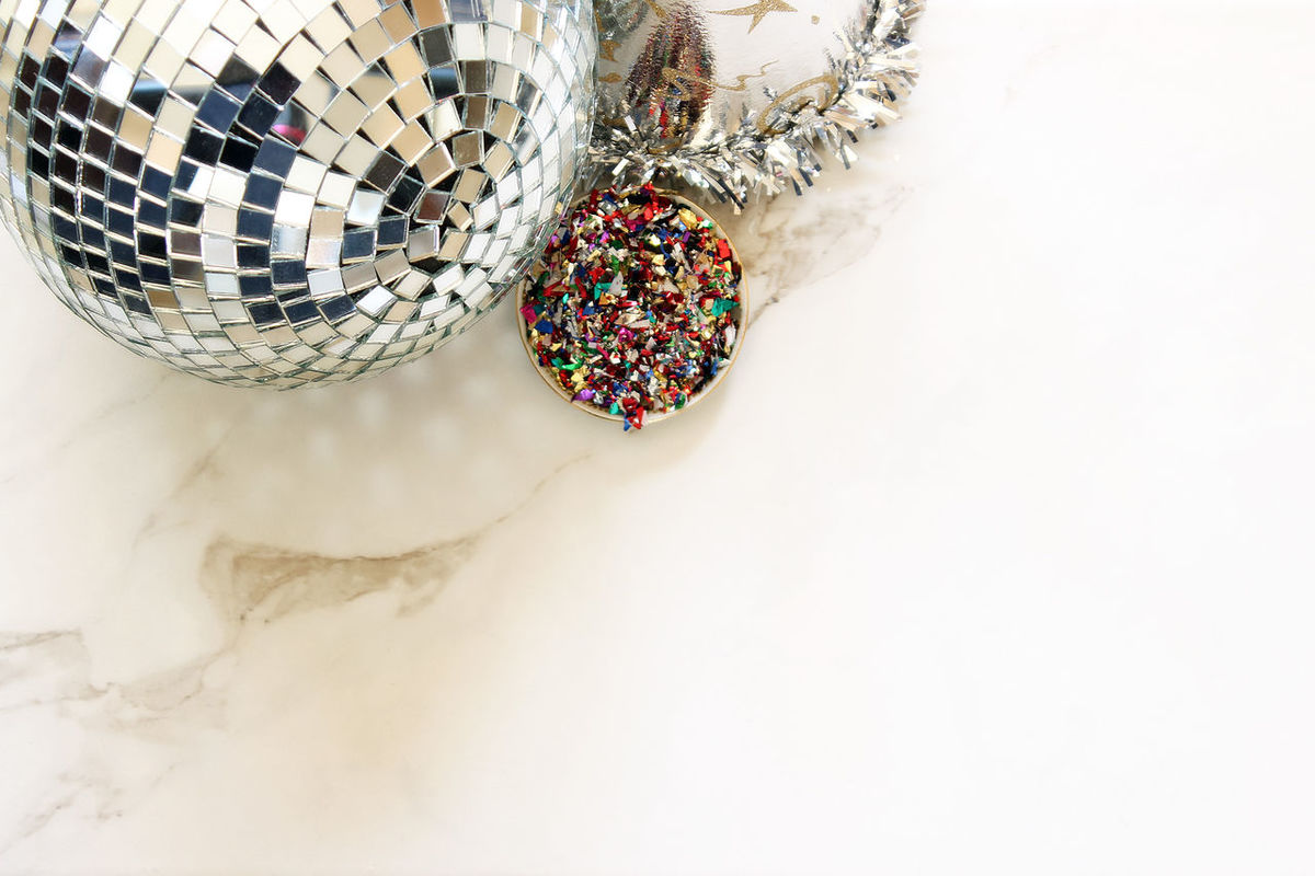 Let's party! Background Border Celebration Confetti Dance Disco Ball Event Festive Frame Fun Marble Metallic Party Party Decorations Party Hat Party Supplies Silver  Sparkly Studio Shot Template
