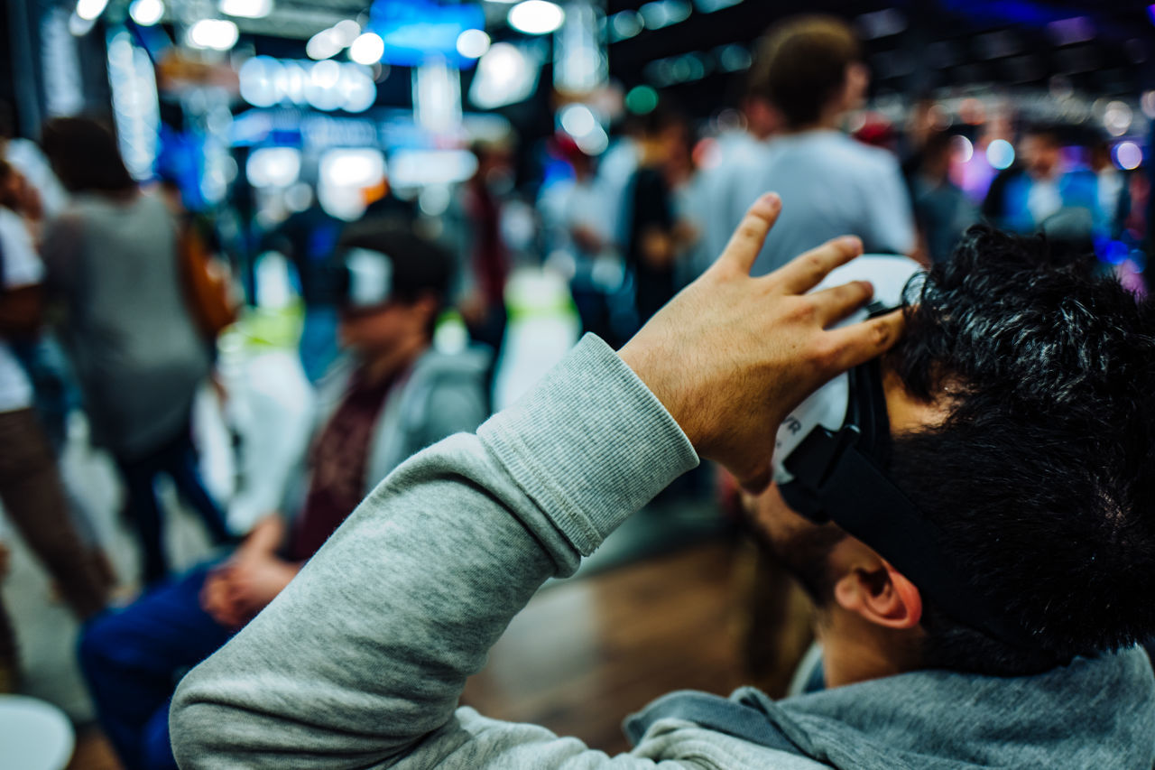 Close-Up Of Man Using Virtual Reality Simulator