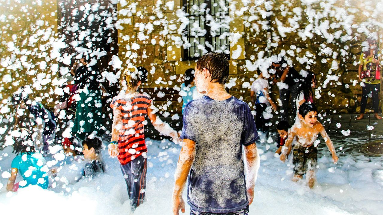 Lifestyles Wet Leisure Activity Standing Reflection People Spraying Fun Fiesta De La Espuma Splashing Enjoying Messy Person Children Childhood Foamparty Foam Party Foam People And Places Covarrubias Fiestas De Pueblo Burgos, Spain Enjoying Life EyeEm Gallery Check This Out