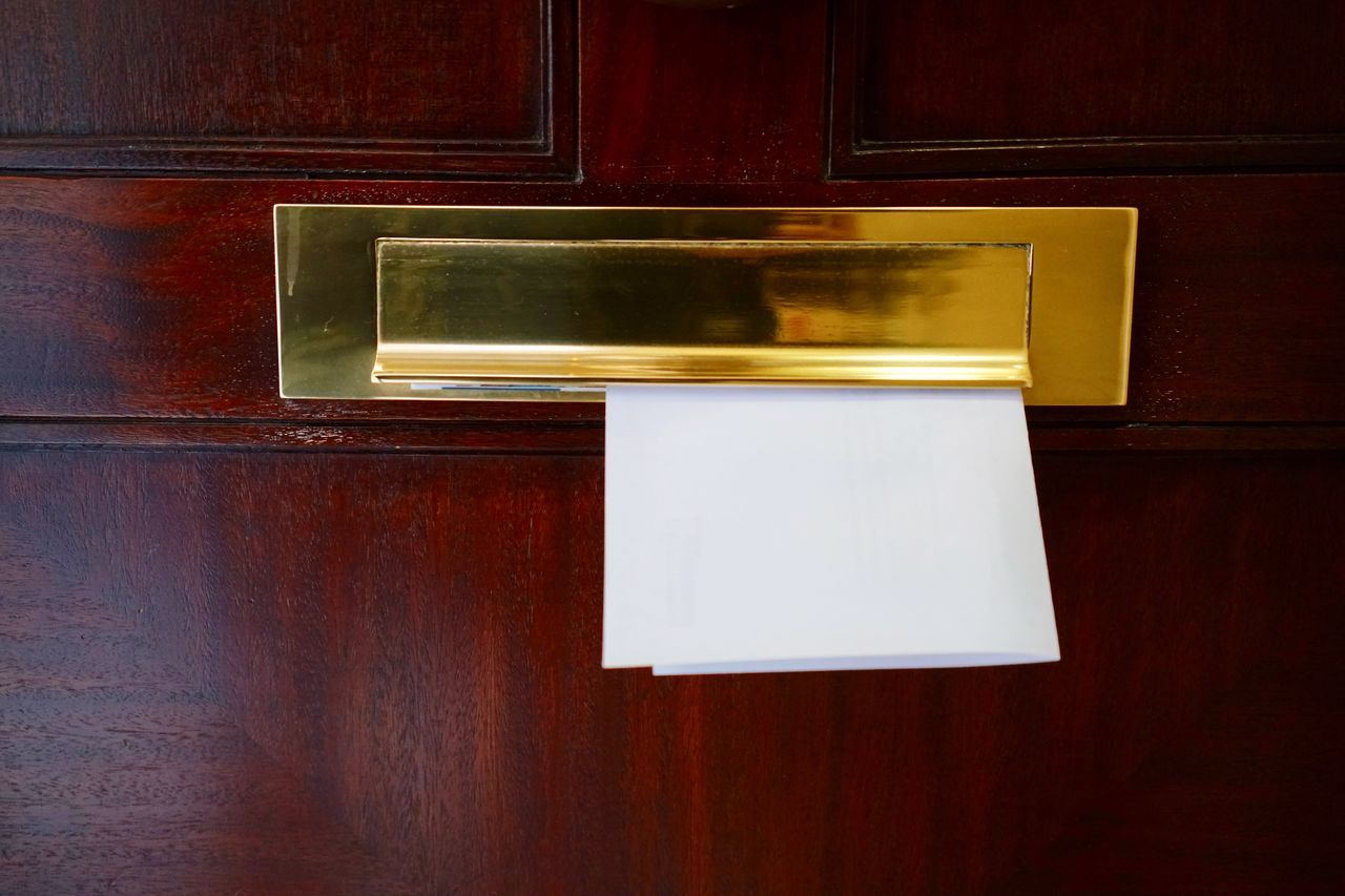 Mail in a mailbox Wood - Material Mail Slot No People Envelope Close-up England Uk London LONDON❤