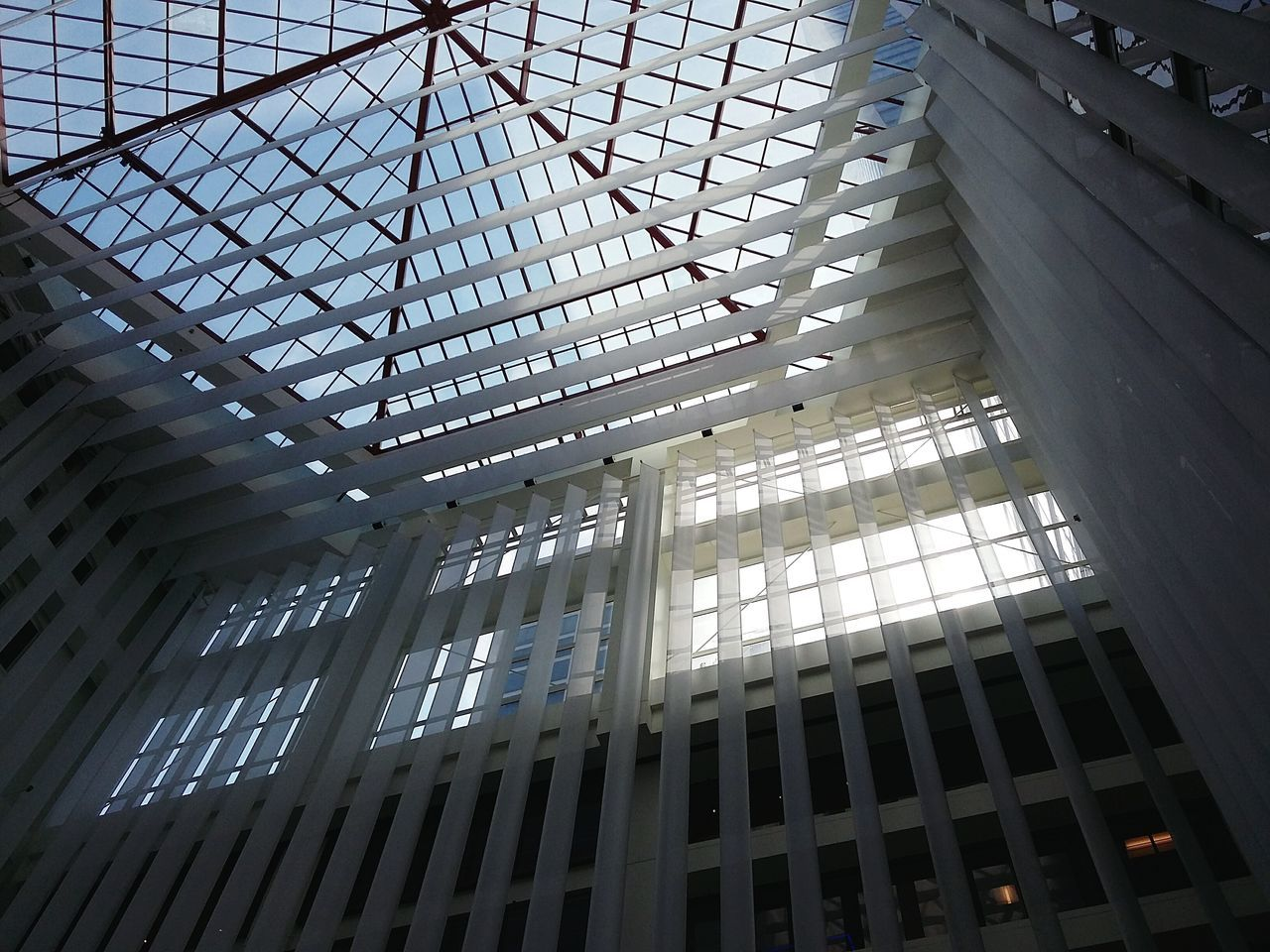 Ceiling Construction at One Market, San Francisco. · SF California CA USA Architecture Interior Interior Design Roof Ceiling Glass And Metal Light Light And Shadow Geometry Modern