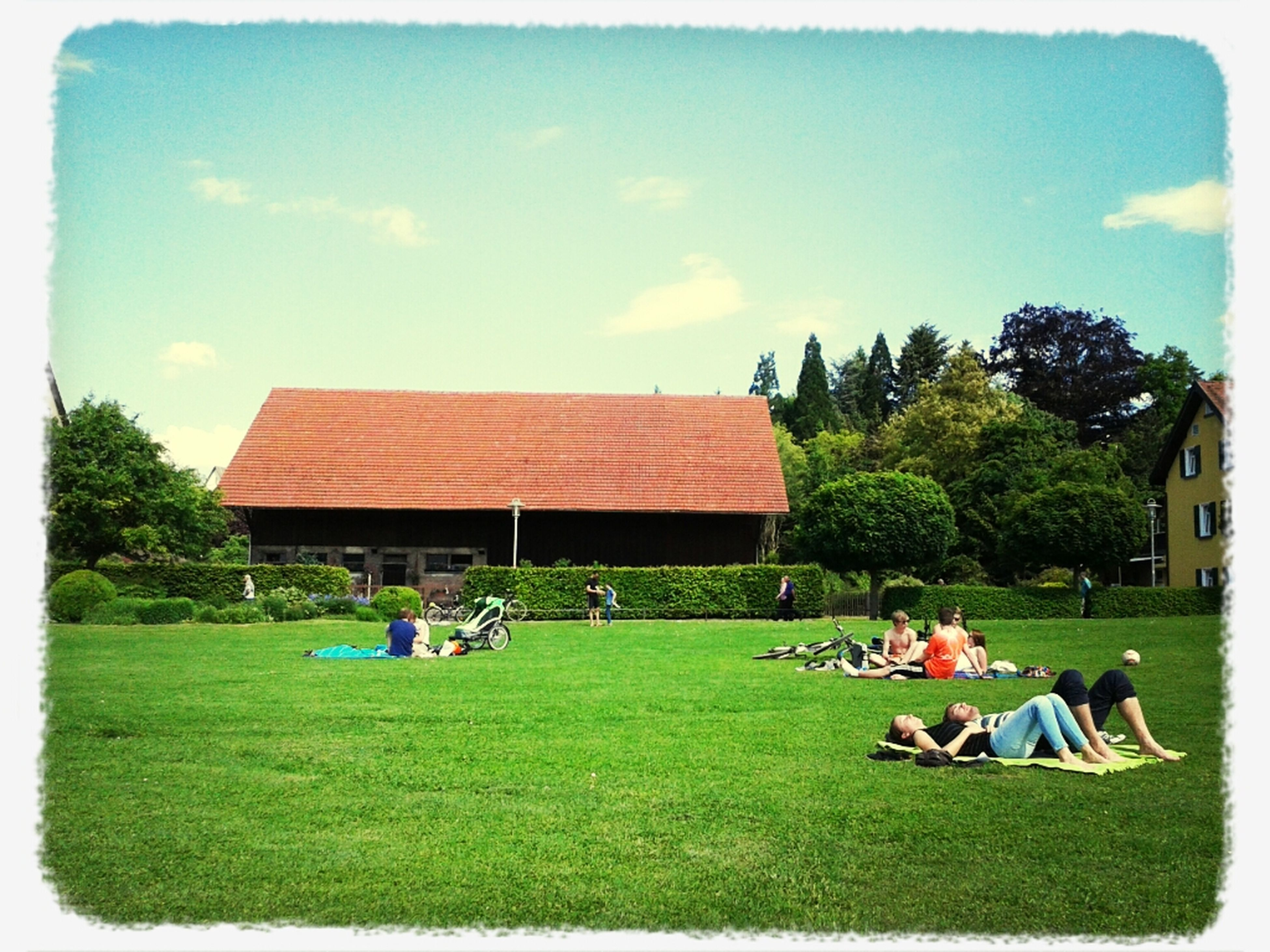 grass, tree, leisure activity, relaxation, sky, lifestyles, men, person, sitting, bench, large group of people, green color, field, park - man made space, lawn, building exterior, chair, built structure, transfer print