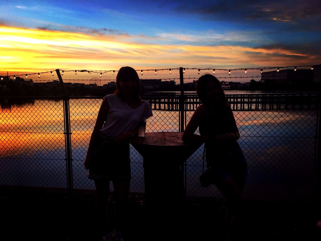 her&me. Love Sunset Two People Sky Real People Men Togetherness Cloud - Sky Lifestyles Leisure Activity Bonding Water Sea Women Standing Railing Outdoors Beauty In Nature Silhouette Friendship Bestfriend Bff❤ Ageha Tokyo,Japan