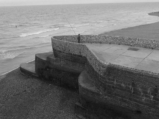 Beach England Horizon Over Water La Manche Stony Beach Tranquility Wave