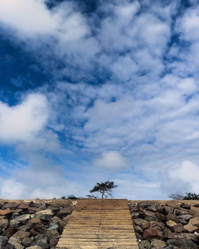 """Wow superb moment 😍🙊Where the sky and the earth meets... """"STAIRWAY TO HEAVEN """"☑️🙏🏻 Beauty In Nature Sky Roof Cloud Low Angle View Cloud - Sky Outdoors Day Blue No People Nature Cloudscape First Eyeem Photo"""
