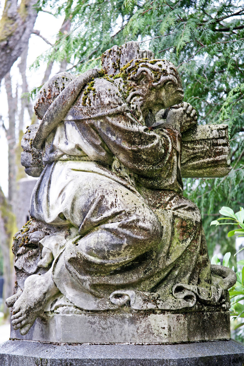 statue, sculpture, art and craft, day, no people, low angle view, outdoors, tree, close-up