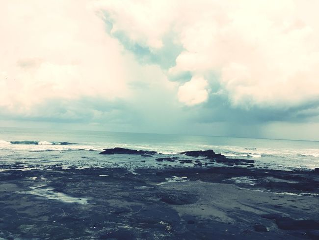 Tanah Lot Sea Horizon Over Water Water Tranquil Scene Scenics Sky Tranquility Calm Beauty In Nature Cloud Beach Ocean Rock - Object Nature Idyllic Cloud - Sky Majestic Seascape Waterfront Non-urban Scene