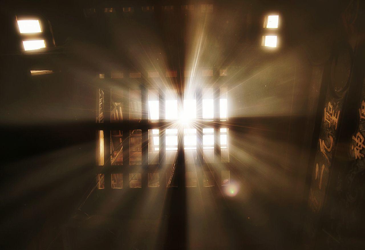 illuminated, night, tunnel, indoors, the way forward, no people, light beam