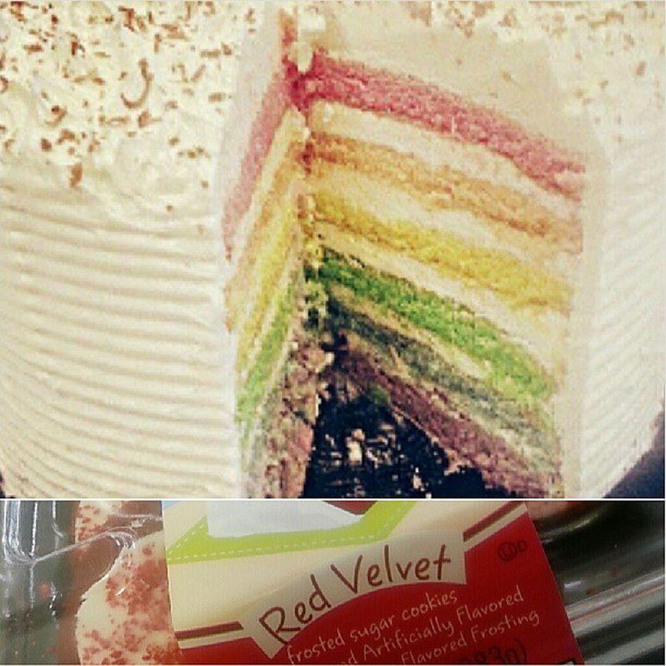 They got me a Chocolate Rainbow Cake and Red Velvet Sugar Cookies yum! HappyBirthdayToMe CrazyDayAtTheOffice
