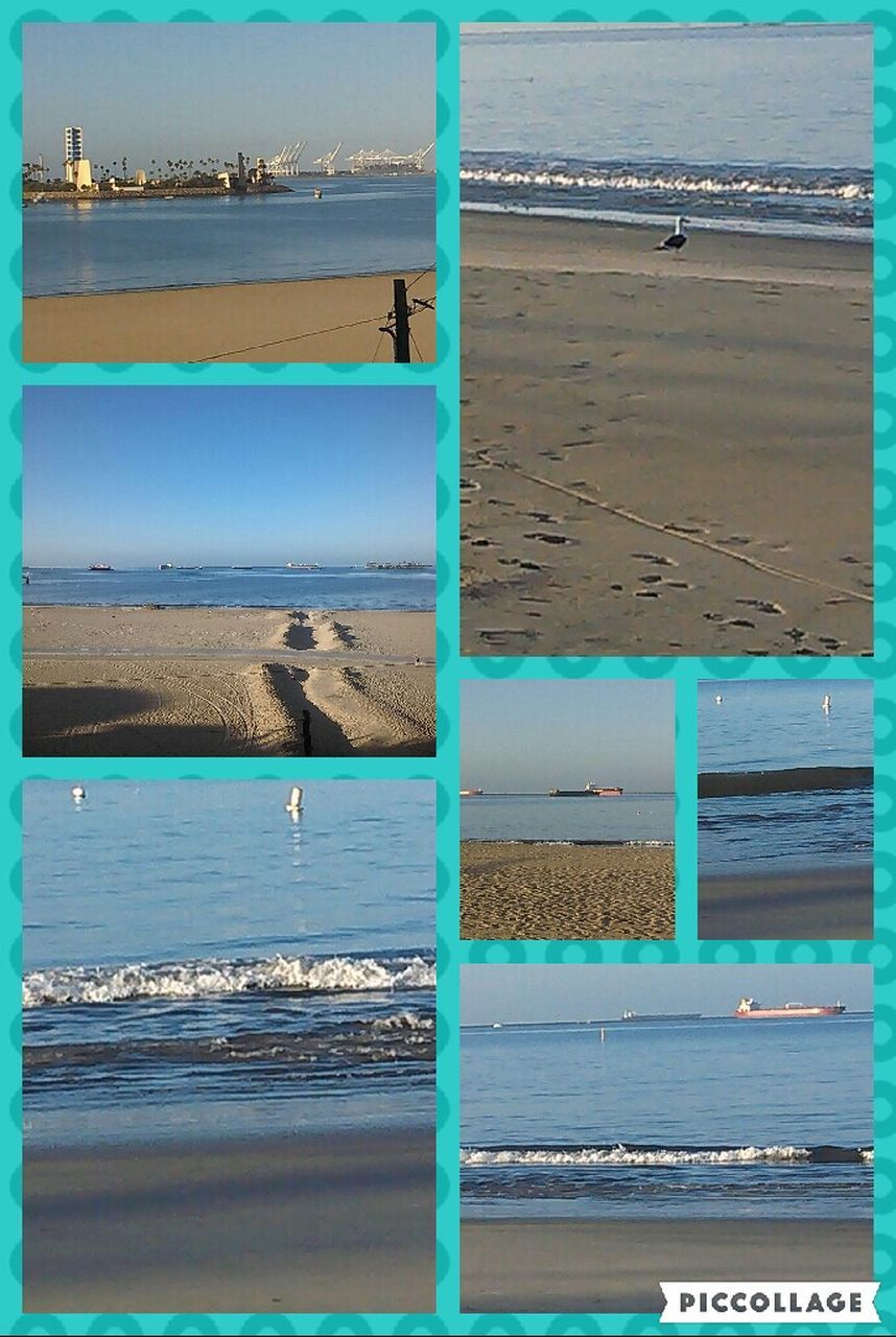 sea, beach, water, day, outdoors, nature, collage, tranquil scene, no people, beauty in nature, sand, scenics, bird, wave, horizon over water, animal themes