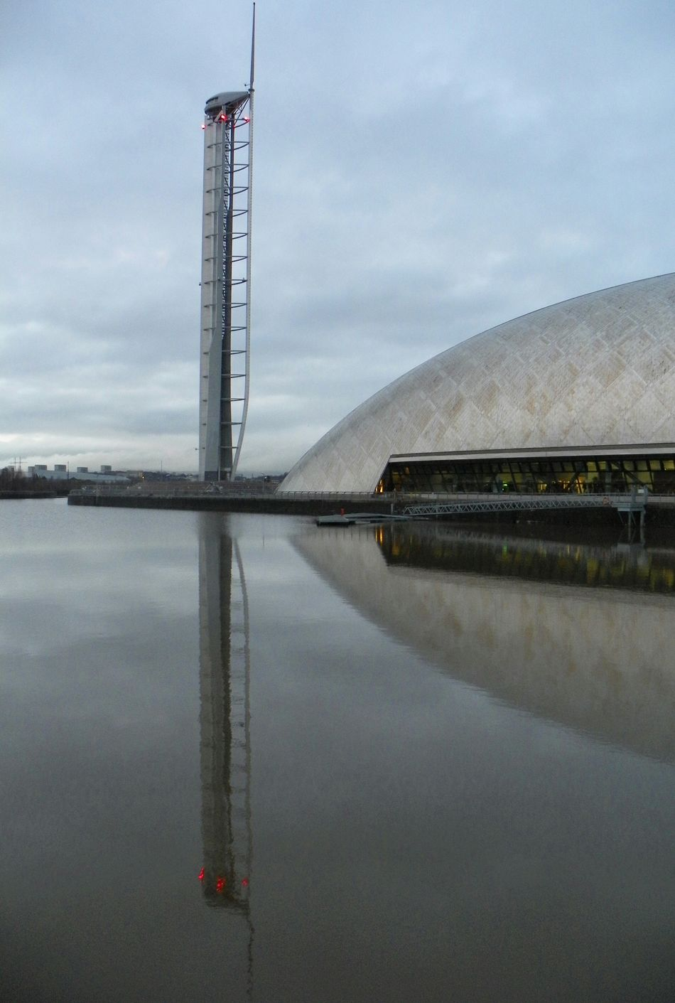 Glasgow Tower Water Reflections