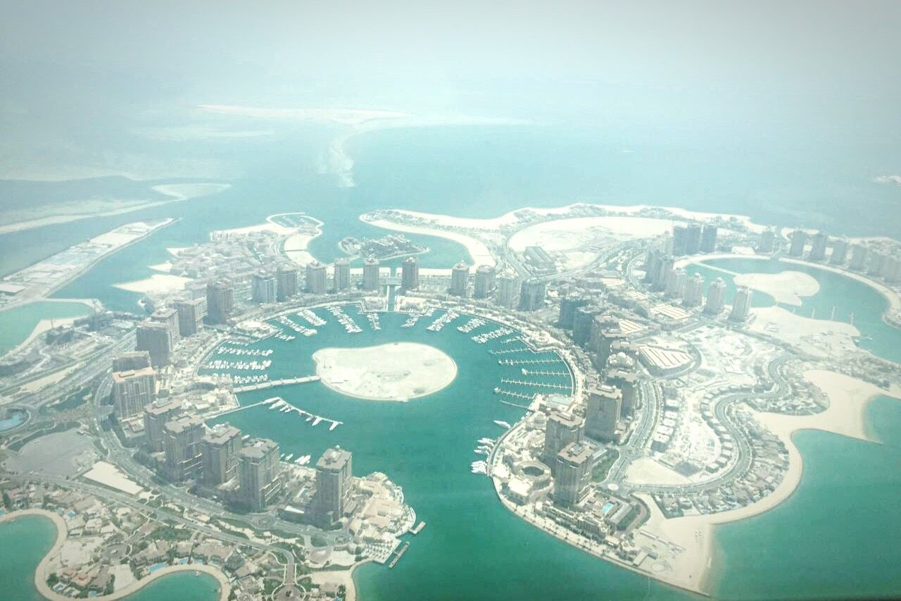 View from my office .. Aerial View City Cityscape Sea Water Airplane Sky Artificial Island Island View  Island Arabic Style Arabic Architecture The Pearl, Doha