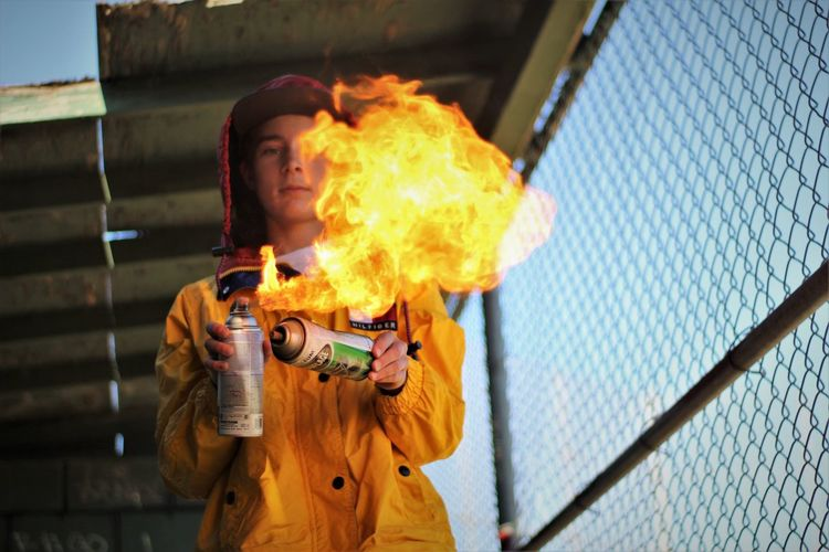 50mm F1.8 Fire - Natural Phenomenon Flame Outdoors Paint Can Painting Photograghy TommyHilfiger