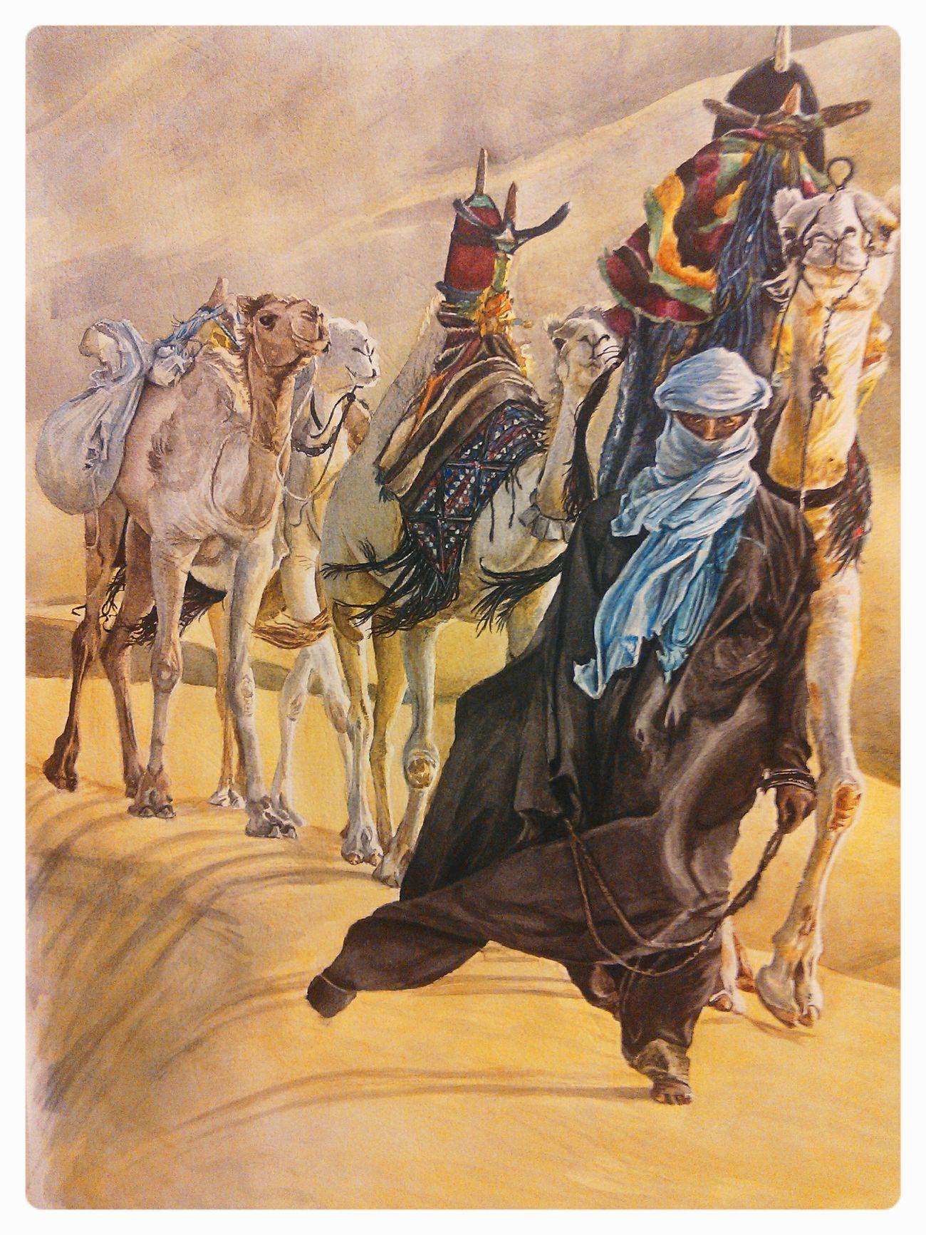 Painting Watercolor Karavan Drawing Desert My Drawing Yanbykh A.