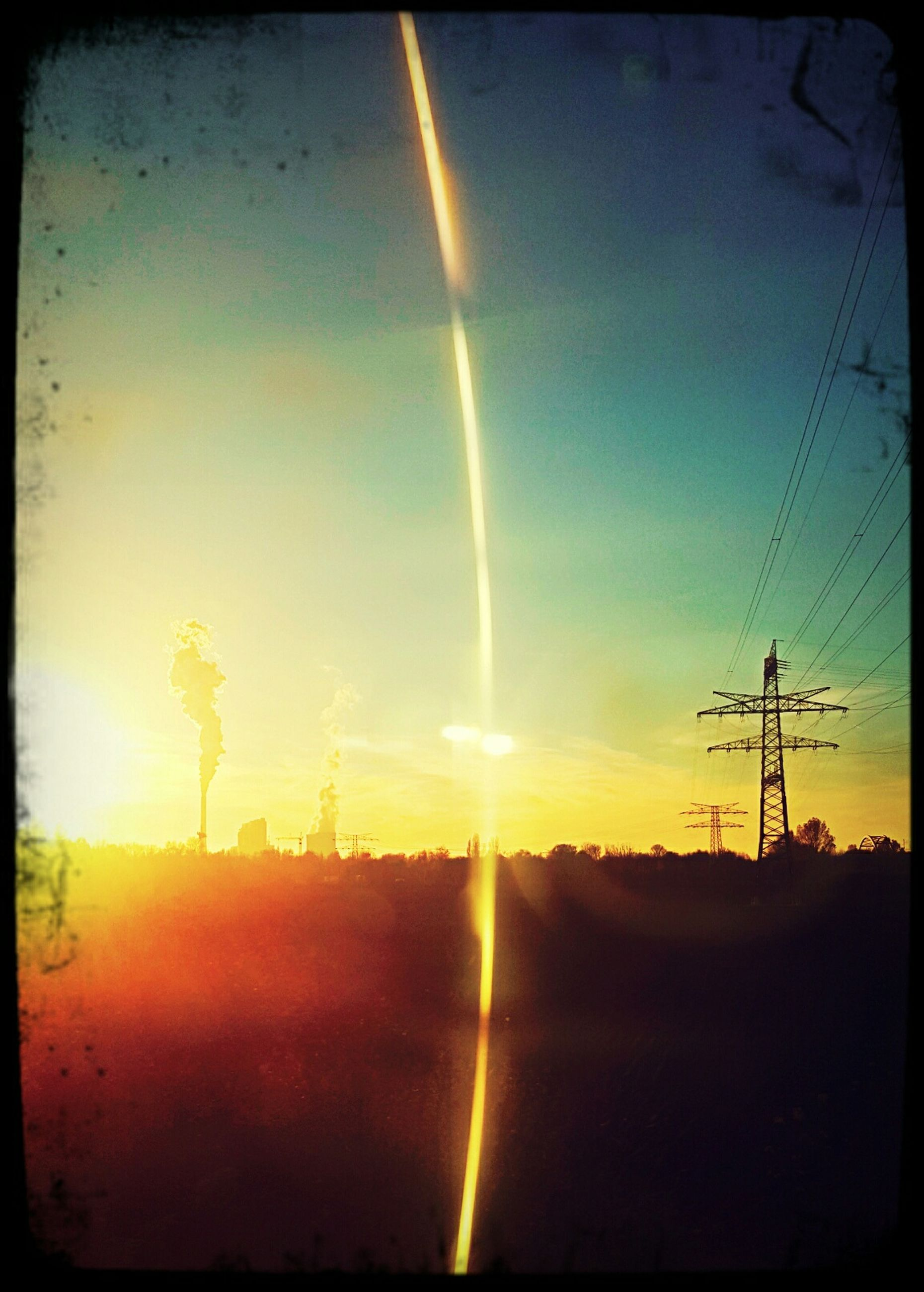 sun, sunset, sunbeam, electricity pylon, power line, sunlight, lens flare, fuel and power generation, scenics, tranquil scene, tranquility, sky, landscape, electricity, silhouette, beauty in nature, nature, power supply, transfer print, idyllic