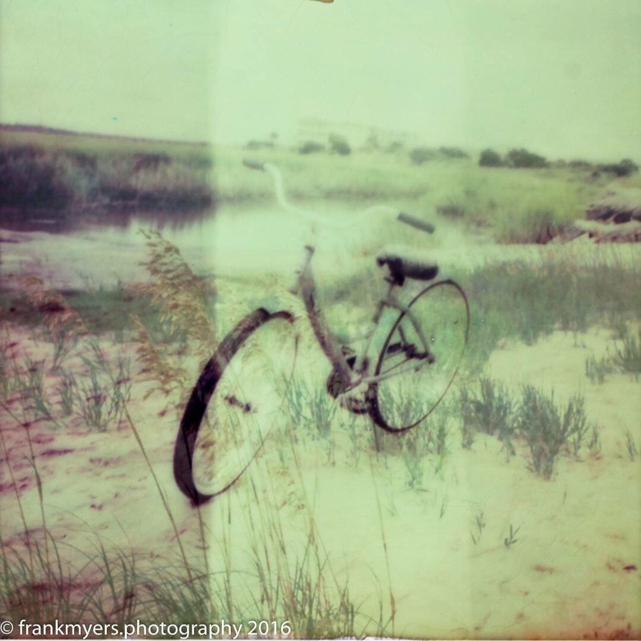 Beach bicycle Polaroid Impossible Project