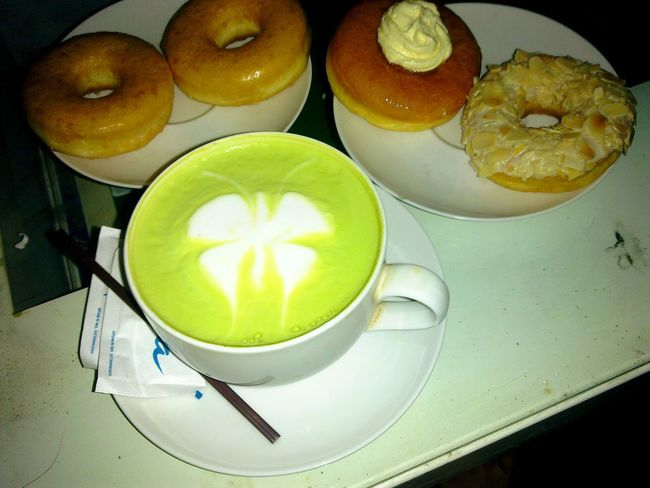 Green tea latte Donuts Enjoying Life Hanging Out The Foodie - 2015 EyeEm Awards Food Porn Awards