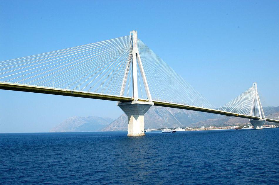 Bridge Construction Engineering Outdoors Rio-antirio Bridge Sailboat Sea Suspension Bridge