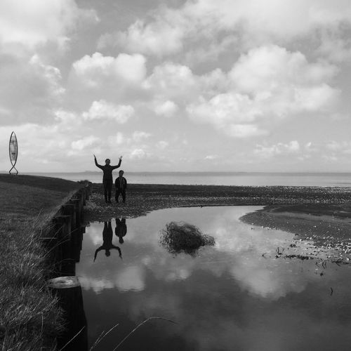 IPhoneography Blackandwhite Beach Reflection Water Reflections Water Snapseed Adventure Buddies Youth Of Today The Great Outdoors - 2016 EyeEm Awards