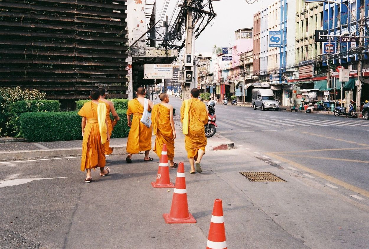 A group of monk | Testing my first roll of my new film camera around my hometown called Krung Thep, also known internationally as 'Bangkok'. 135film Agfa Vista200 Agfavista200 Analogue Photography Buy Film Not Megapixels Buyfilmnotmegapixels Film Is Not Dead Film Photography Filmisnotdead Leicaminilux Monk  Monks Rattanakosin Street Traffic Cone The Street Photographer - 2017 EyeEm Awards Neighborhood Map