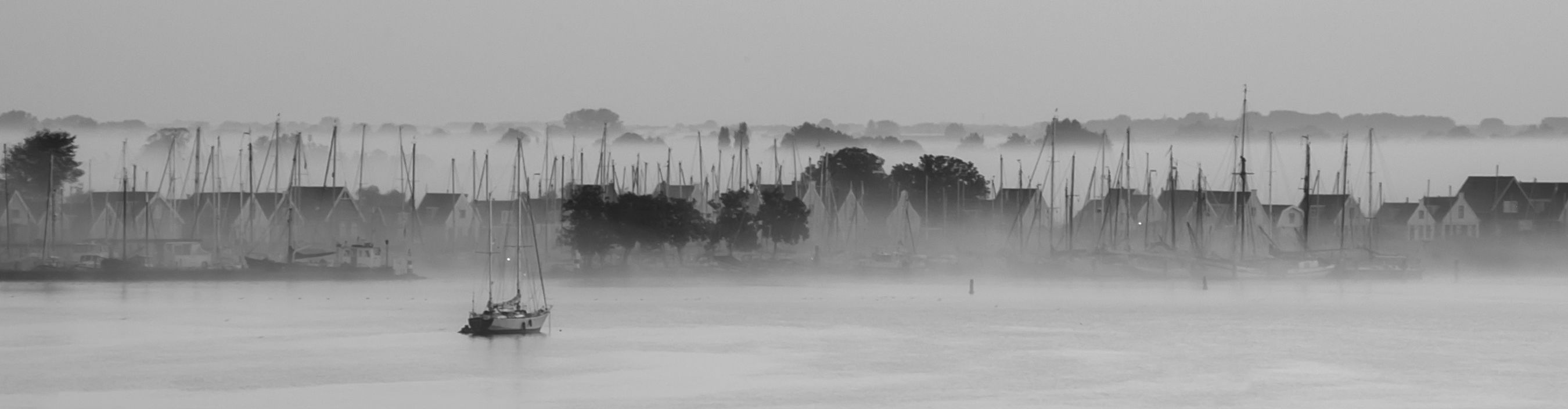 Durgerdam Landscape Panorama Blackandwhite Black And White Fog Black & White Morning Harbour Water