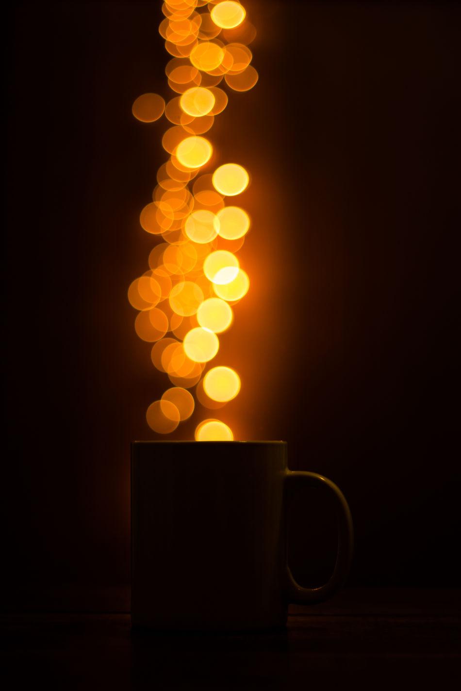 Black Background Bokeh Bokeh Photography Close-up Coffee Cup Darkroom Heat - Temperature Hot Coffee Illuminated Light Magic Coffee Still Life Warm