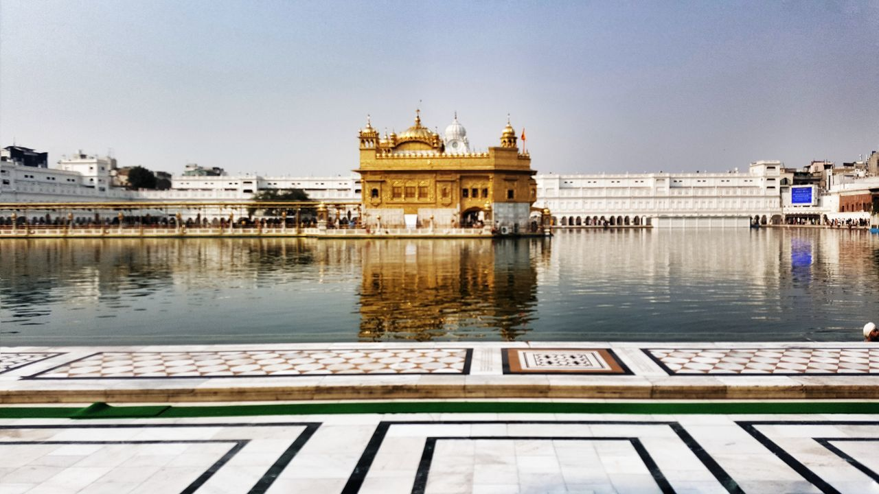 Golden temple, Amritsar, India..!! 🙏🕍😇 Golden Temple Architecture Built Structure Water Religion Travel Destinations Outdoors Architecture Dome Sky Day No People Nature Tranquility Building Exterior Check This Out Drastic Edit The Architect - 2017 EyeEm Awards The Great Outdoors - 2017 EyeEm Awards The Photojournalist - 2017 EyeEm Awards The Street Photographer - 2017 EyeEm Awards Reflection From My Polnt Of View My Point Of View Clear Skies