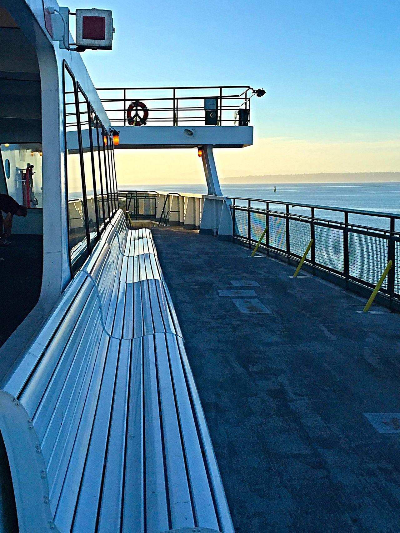 Bainbridge Island Ferry Ferry Ferry Passengers Horizon Over Water Scenics Sea Seattle Seattle Skyline Seattle, Washington Sunlight Sunrise Walkway Washington Ferry Water My Commute On The Way