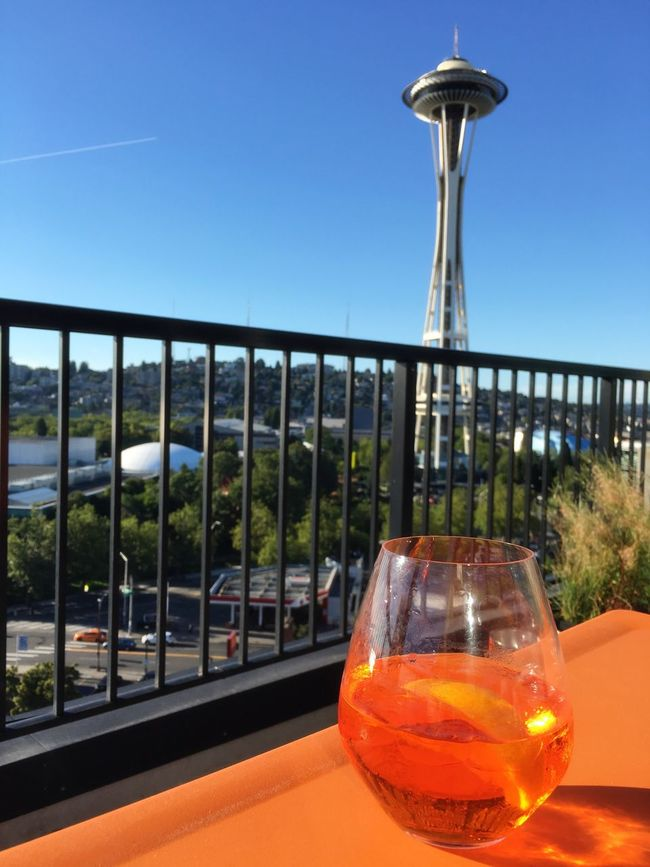 Cheers Aperol Spritz Spritz O'clock Space Needle Seattle Cocktail Happy Hour Cocktail Porn
