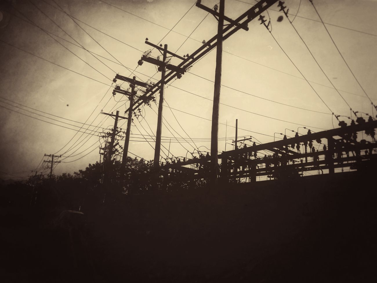Power Line  Silhouette Industrial Distopic Apocalyptic Gritty Sepia Decadent Pollution Fuel And Power Generation