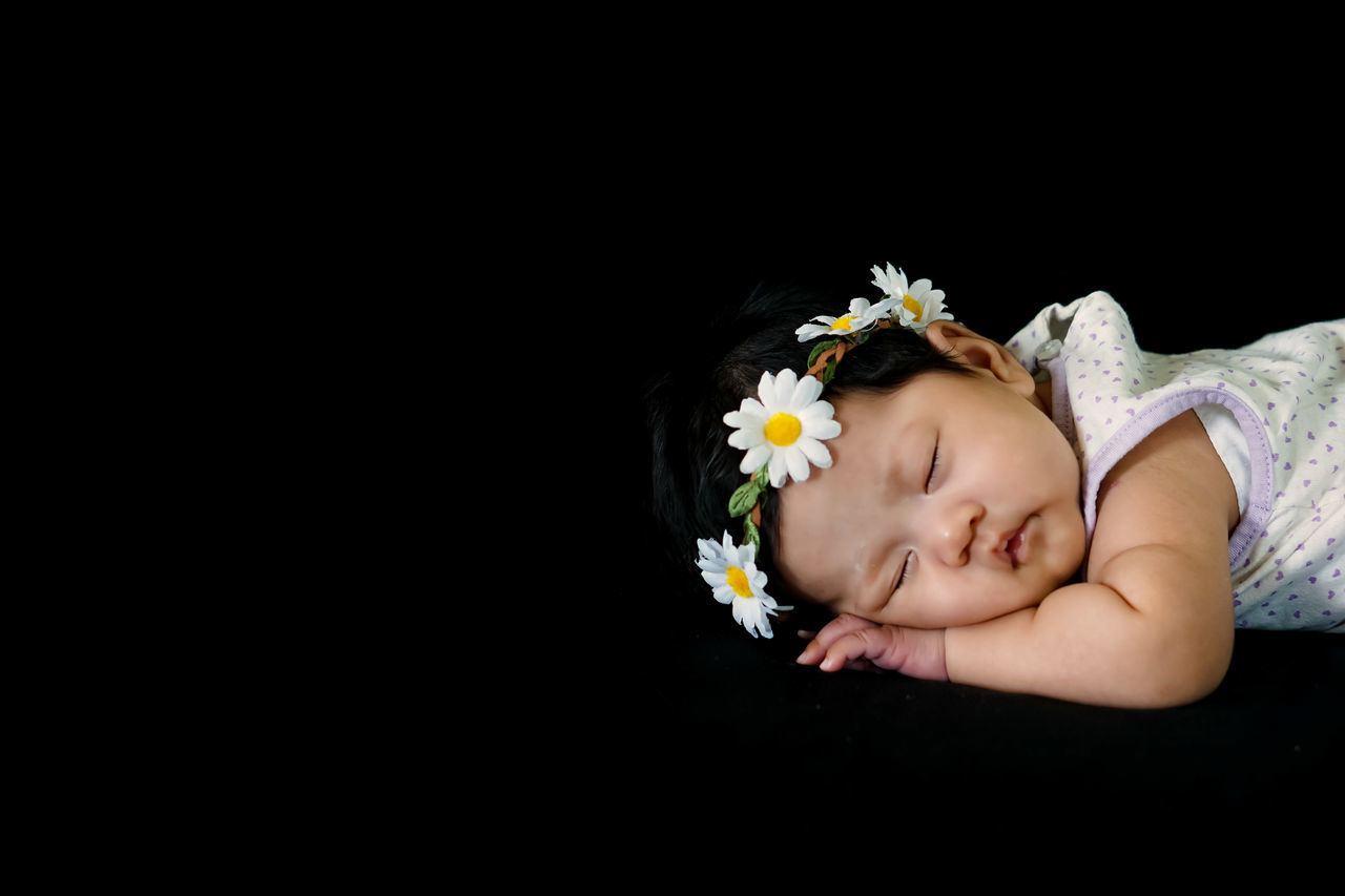 Innocence One Person Baby Sleeping Flower Eyes Closed  People Copy Space Headshot Childhood Cute Black Background Babies Only Fragility Looking At Camera Studio Shot Relaxation Child Day Indoors  Close-up Girl