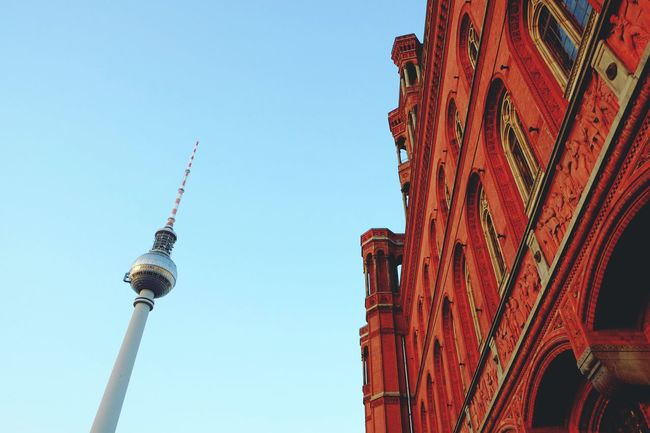 Berlin My Fuckin Berlin Blue Blue Sky Red TV Tower Architecture Colors The Architect - 2015 EyeEm AwardsContrast